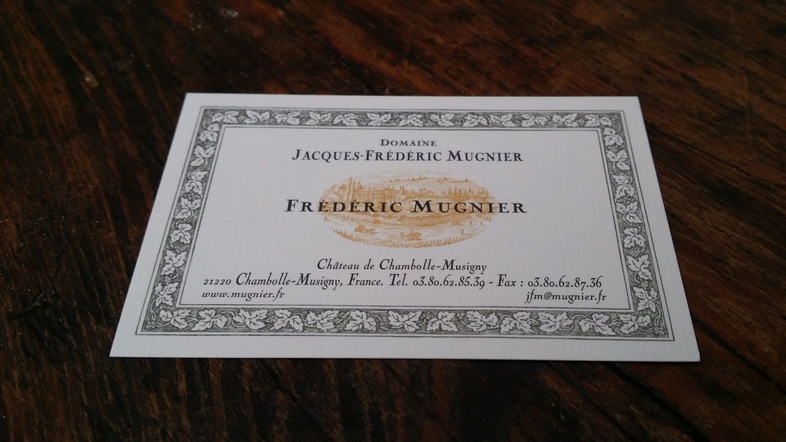 JACQUES FREDERIC MUGNIER, CHAMBOLLE MUSIGNY