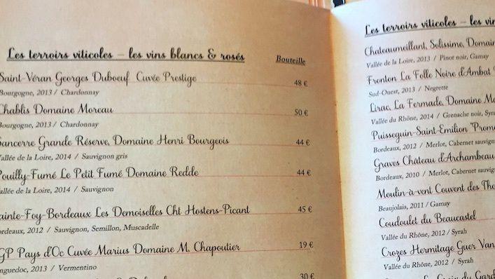 Une carte des vins très classique...©Paris-bistro.com