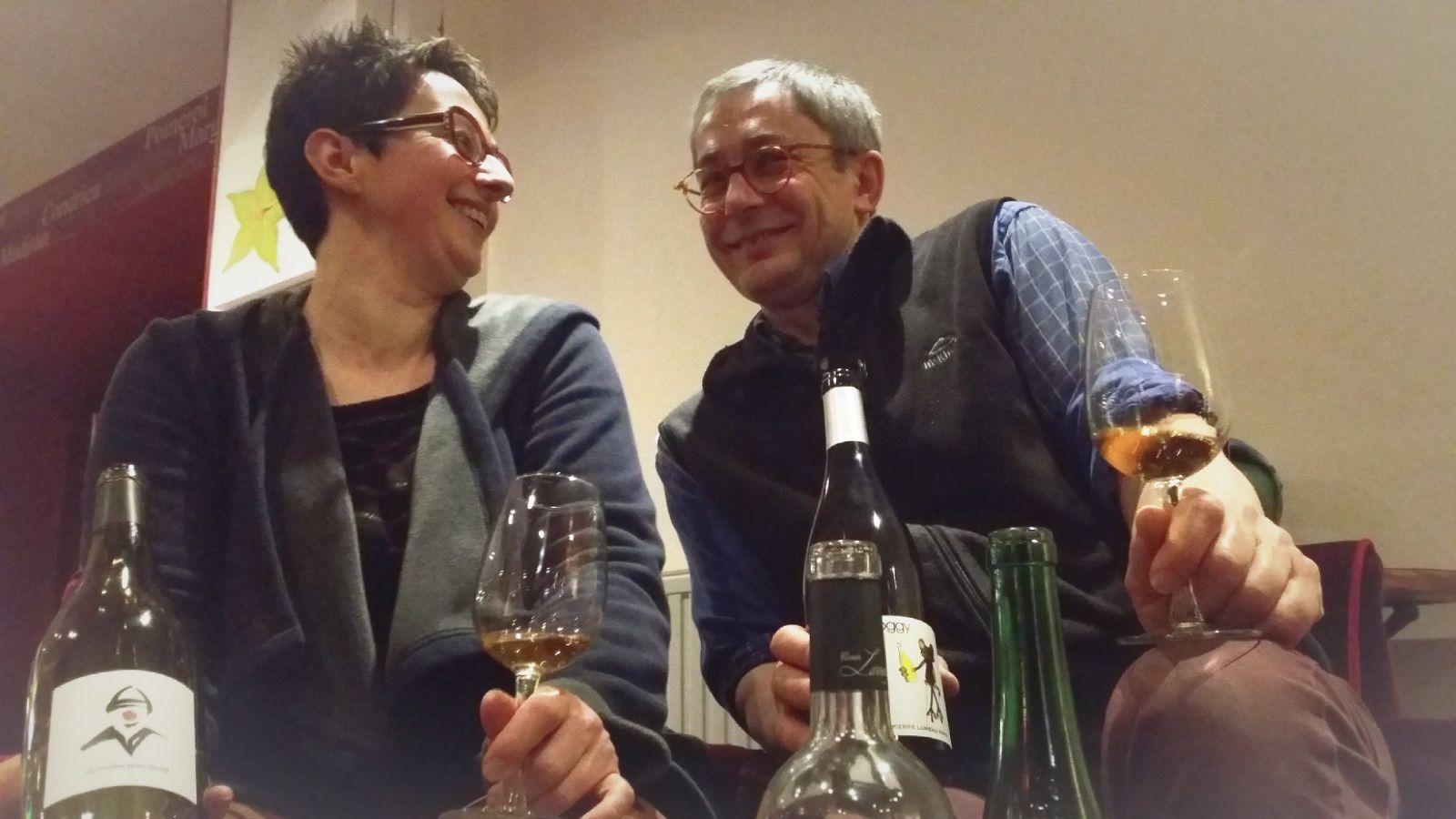 Hélène Bouclet et Christophe Achard, un couple amoureux du travail bien fait et des vins de caractère. Au Trinité Hôtel, à la Trinité sur Mer.